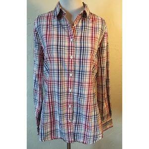 Brooks Brothers Ladies red blue plaid blouse 12